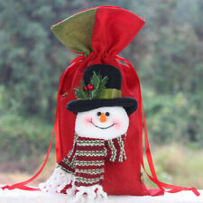 AU_ Portable Drawstring Christmas Linen Gift Apple Candy Bag Pouch Xmas Supply S
