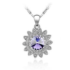 GORGEOUS 18K WHITE GOLD PLATED GENUINE PURPLE CZ & AUSTRIAN CRYSTAL NECKLACE