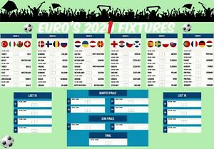 EURO'S 2020 2021 Football Match Fixtures Print Schedule Poster A3 230gsm Card