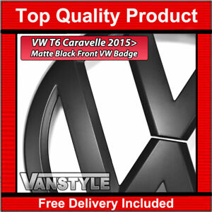 FOR VW T6 CARAVELLE 2015> STYLE REPLACEMENT FRONT MATTE BLACK BADGE EMBLEM