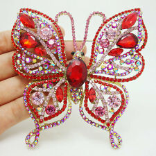Elegant Butterfly Insect Gold-Tone Brooch Pin Red Austria Crystal Woman Jewelry