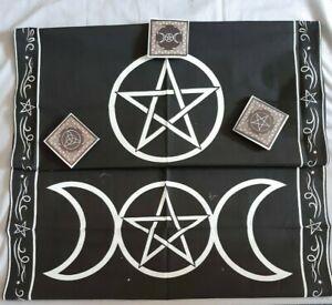 Altar Cloth; tarot; pagan; wicca; pentagram; triple moon; triquetra;