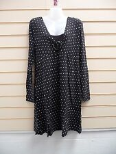 DRESS BLACK SIZE 14 JERSEY CASUAL SMART SPOTTED PRINT DETAIL  BNWOT