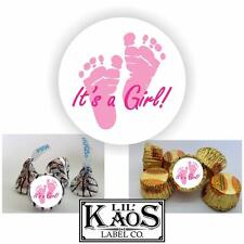 108 It's a Girl Footprints Pink Sticker Label Baby Shower Party Favor Kisses Its
