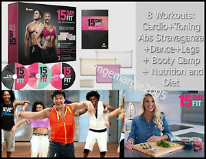 Zumba 3 DVD 8 WORKOUTS Cardio Abs Diet 15 Day Fit Total Body Transformation Kit