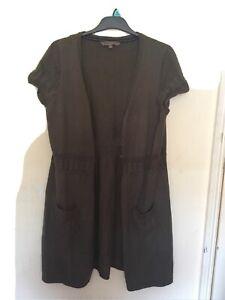 Fat Face Long Brown Cotton  Sleeveless Gilet Cardigan UK 16