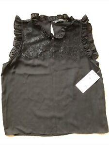 BNWT Girls Frill Neck Sleeveless Top By Zara Size Small