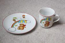 Andrea Sadek Japan Porcelain Child's Kids Plate Cup Rainbow Teddy Bear Parachute