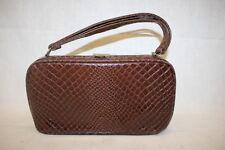 "VINTAGE DOVER Brown ""CROC"" Textured Handbag, Bronze Tone Top Closure & Frame"