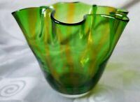 Gorgeous Designs Blown Glass Handkerchief Vase Ruffled Rim Green Yellow Striped