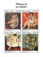 St Thomas - 2018 Nude Paintings - 4 Stamp Sheet - ST18406a