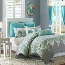 Beautiful Modern Tropical Aqua Blue Green Grey Beach Comforter Set King & Cal