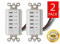 2 In-Wall Auto Power Shut Off Timer 2-4-8-12 Hour Preset Countdown Wall Switch