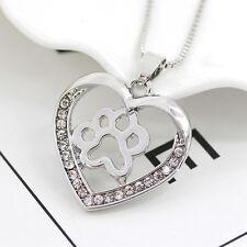 Romantic Heart Dog Paw Long Necklace Silver Hollow Rhinestone Pet Pendant Animal