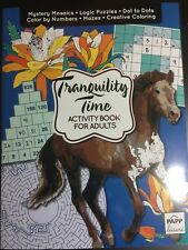 TRANQUILITY TIME ADULT ACTIVITY BOOK NEW DOT TO DOT COLOR BY NUMBER PUZZLES MORE