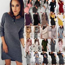 Women Knitted Warm Long Sleeve Lace Up Sweater Jumper Top Knitwear Mini Dresses