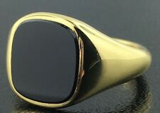 Men's 18k yellow gold genuine Onyx ring, 10.9 grams
