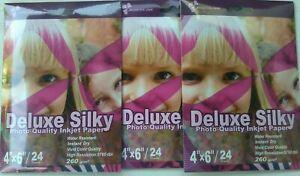 "240 Sheets 4x6"" Semi Glossy / Satin Photo Paper 260 Gsm 6x4""  Super White Silky"