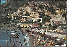 AA5853 Salerno - Provincia - Positano - Panorama e spiaggia animata - Cartolina