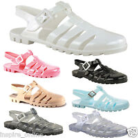 WOMENS LADIES GIRLS RETRO JELLY SANDALS 90'S BUCKLE BEACH FLIP FLOPS SHOES SIZE
