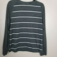 Original Penguin Men's Gray Striped Long Sleeve Crew Neck T-Shirt Size M