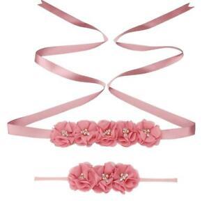 Chiffon Flower Baby Shower Belly Sash Headband Flower Girl Maternity Sash Belt