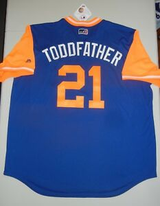 "TODD FRAZIER ""TODDFATHER"" Majestic New York METS 2018 PLAYERS WEEKEND Jersey XL"