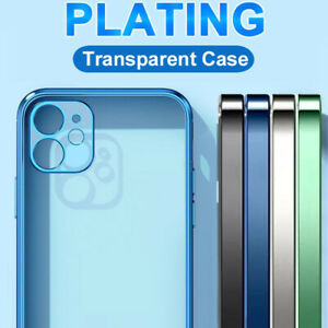 For iPhone 13 12 Pro Max 11 XS XR 8+ Luxury Plating Bumper Clear Soft Case Cover