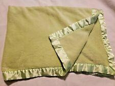 Tadpoles Baby Blanket Solid Green Satin Edge Boy Girl Unisex