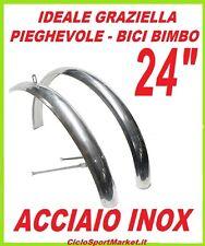 """COPPIA PARAFANGHI per bici GRAZIELLA - PIEGHEVOLE misura 24"""" in ACCIAIO INOX"""