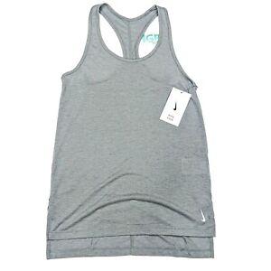 Nike Yoga Tank Top Women's Dri-Fit Running Training Sport Gym Grey CQ8826-073