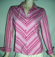 DCC Petite PL Gorgeous Stretchy Striped Pink Shirt Ships Free in the USA