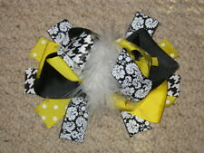 "NEW ""DAMASK YELLOW"" Fur Hairbow Alligator Clips Girls Ribbon Hair Bows 5.5 Inch"