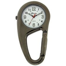 TOC Clip On Doctor Nurse Carabiner Gun Metal Pocket Fob Watch TOC55