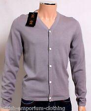 BNWT Holland Esquire Grey COTTON & SILK V Neck Cardigan Jumper Sweater SMALL