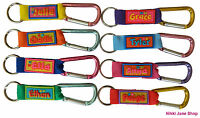 Personalised Name Keyring School Bag Tag Luggage Carabiner Clip Names A ~ F