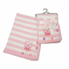 Beautiful Soft Snuggly Microfleece Baby Blanket in Pink Stripes with Applique Ki