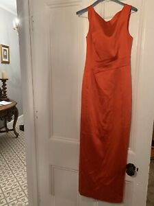Karen Millen  The Atelier Formal Satin Long Red Dress Uk 10 Only Worn Once