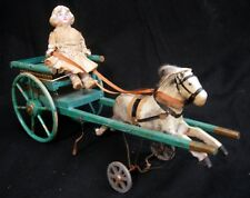 Antique Wooden Toy German Bisque Doll on Buggy w/ Galloping Horse Original Paint