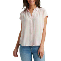 Lucky Brand Women's Striped Button Front Short Sleeve Casual Top