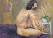 Impressionist oil painting nude man portrait