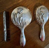 Elegant Vintage Silver Plated Vanity Dresser Set: Brush, Mirror & Comb