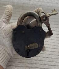 BIG 1.2kg primitive iron screw padlock working 2 key USSR