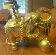 LARGE VINTAGE BRASS ELEPHANT TELEPHONE WITH DIAL PUSH BUTTON IN RAISED FOOT