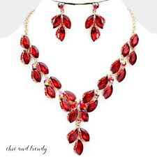 HIGH QUALITY RED GLASS CRYSTAL FORMAL CHUNKY NECKLACE JEWELRY SET CHIC & TRENDY
