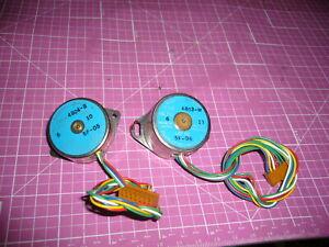 Lot of 2 small Stepper Motors, 6 V, Fuji , SMS35-4803-M, SMS35-4804-B, 10&13 OHM