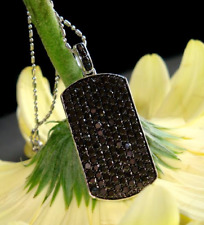 3.55 Ct Spinel Black Diamond Dog Tag Pendent In 925 Sterling Silver