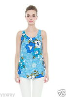Aloha Cruise Summer Beach Bright Hawaiian Luau Tank Top Light Blue Floral