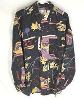 GOOUCH Men's Large Long Sleeve Shirt Silk Button Up 90s Abstract Art VTG NEW