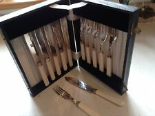 Vintage Set of EP Fish Knives and Forks in original case HF & Co